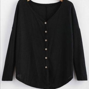 Black ZAFUL drop shoulder v neck cardigan